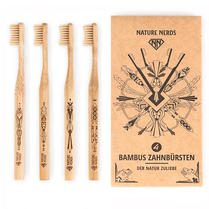 4 Bambus Zahnbürsten Im Set