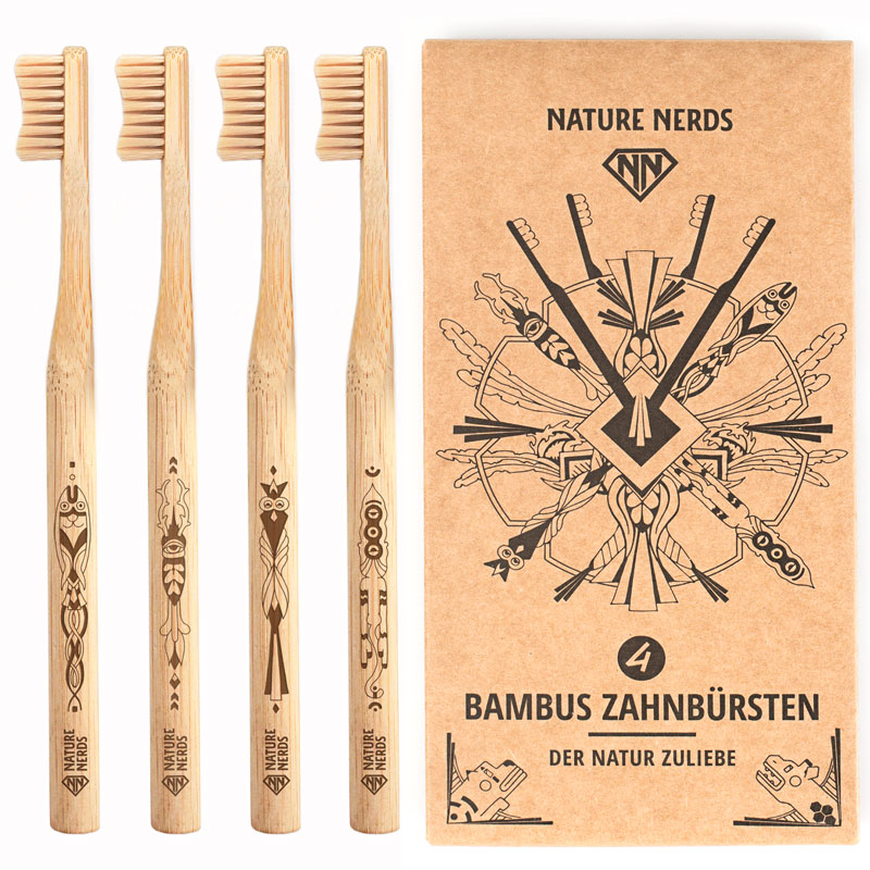 Nature Nerds plastikfrei /& nachhaltig Wattest/äbchen 200 St/ück aus Bambus /& Baumwolle