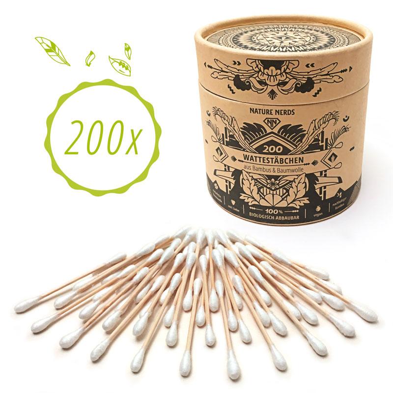 Wattestäbchen (200 Stück) aus Bambus & Baumwolle