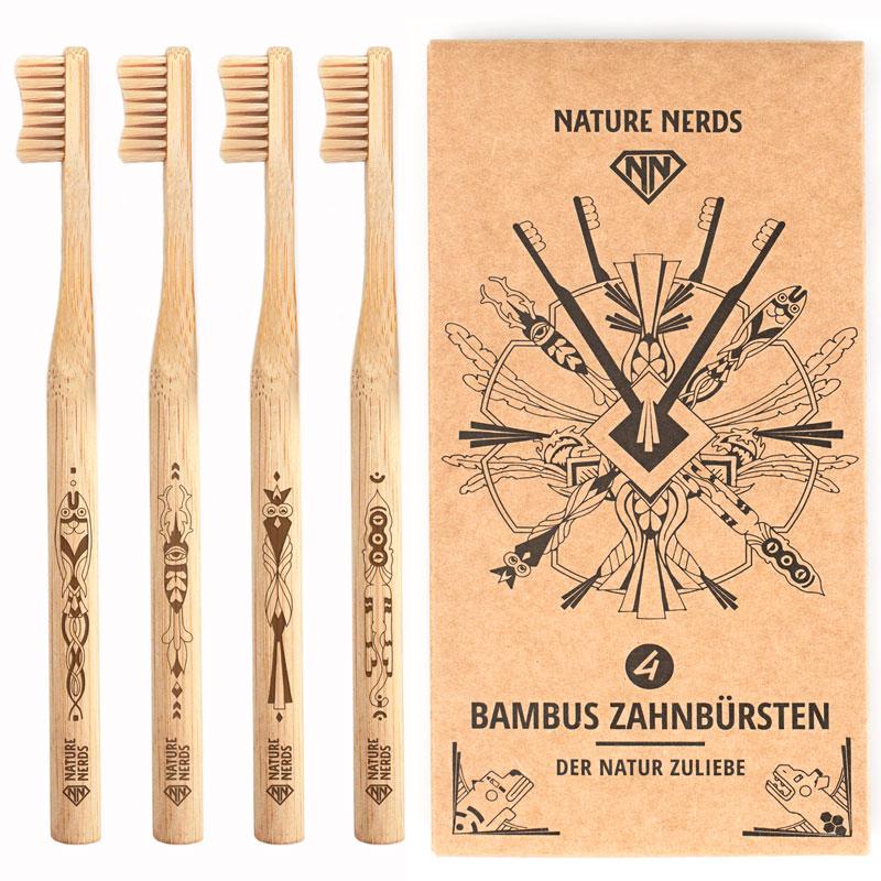 Bambus Zahnbürsten im Set – (4er Pack) – groß