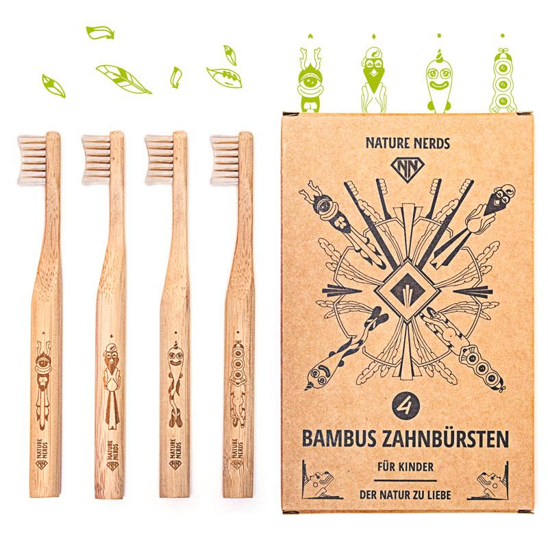 Bambus Zahnbürsten im Set – (4er Pack) – klein